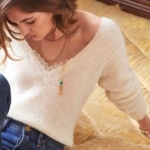 Sézane Black V-Neck Sweater